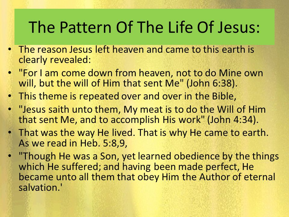 The Pattern Of The Life Of Jesus: The reason Jesus left heaven and came to this earth is clearly revealed: