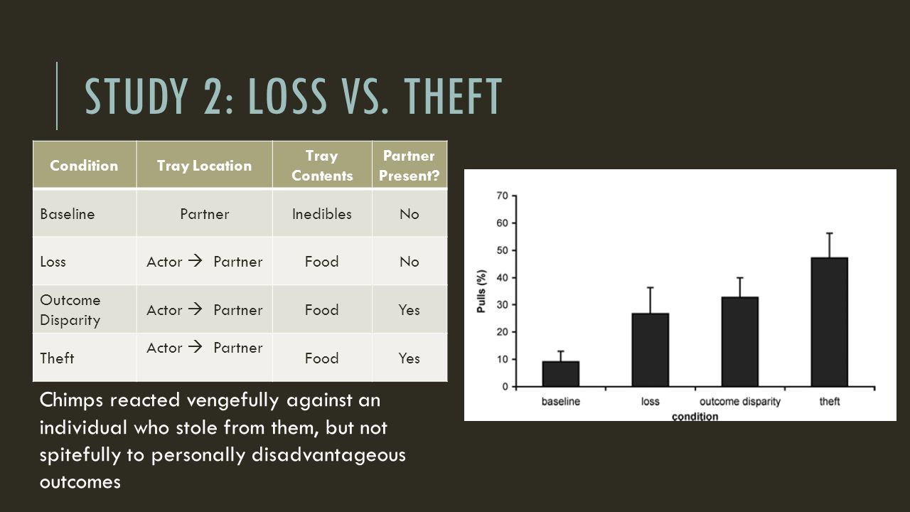 STUDY 2: LOSS VS. THEFT ConditionTray Location Tray Contents Partner Present? BaselinePartnerInediblesNo Loss Actor  Partner FoodNo Outcome Disparity