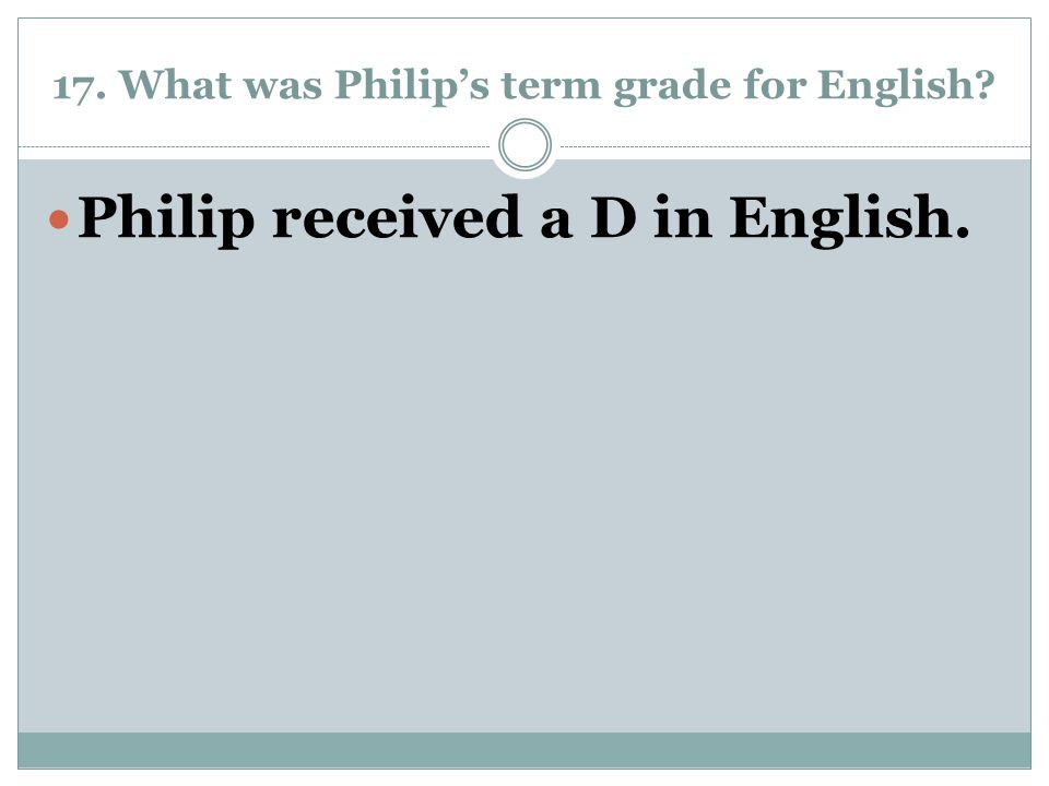 17. What was Philip's term grade for English? Philip received a D in English.