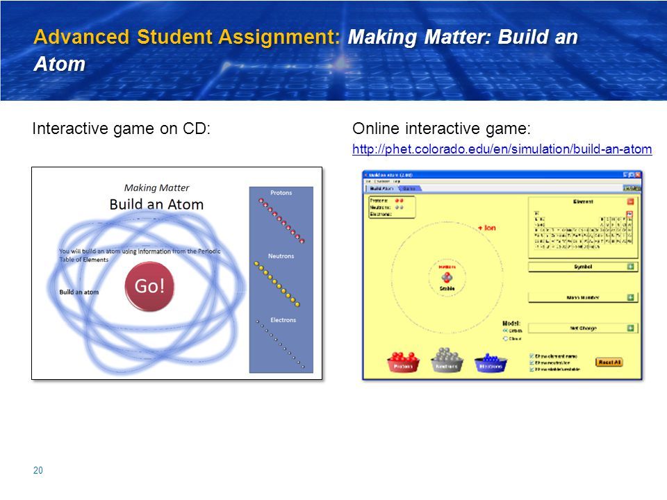 Advanced Student Assignment: Making Matter: Build an Atom Online interactive game: http://phet.colorado.edu/en/simulation/build-an-atom 20 Interactive game on CD: