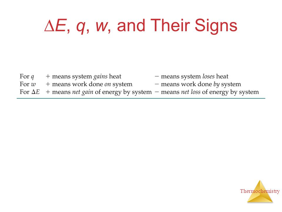 Thermochemistry  E, q, w, and Their Signs