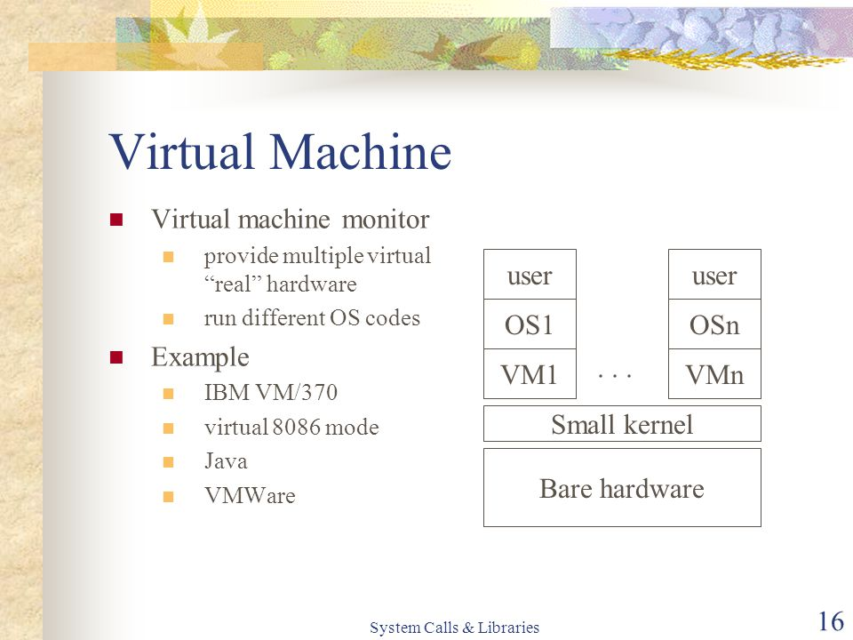 System Calls & Libraries 16 Virtual Machine Virtual machine monitor provide multiple virtual real hardware run different OS codes Example IBM VM/370 virtual 8086 mode Java VMWare Bare hardware Small kernel VM1VMn...