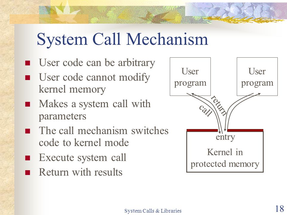 System Calls & Libraries 18 System Call Mechanism Kernel in protected memory entry User code can be arbitrary User code cannot modify kernel memory Ma