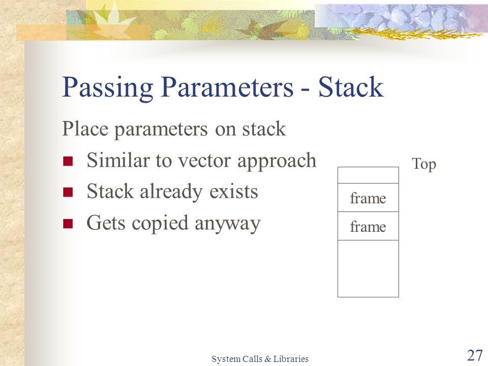System Calls & Libraries 27 Passing Parameters - Stack Place parameters on stack Similar to vector approach Stack already exists Gets copied anyway frame Top