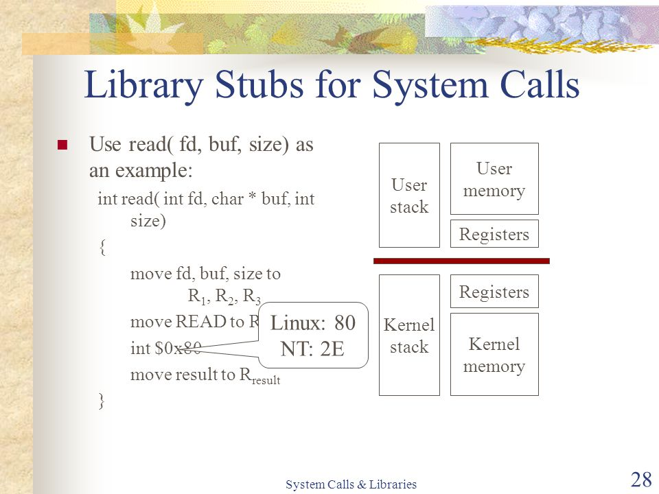 System Calls & Libraries 28 Library Stubs for System Calls Use read( fd, buf, size) as an example: int read( int fd, char * buf, int size) { move fd, buf, size to R 1, R 2, R 3 move READ to R 0 int $0x80 move result to R result } User stack Registers User memory Kernel stack Registers Kernel memory Linux: 80 NT: 2E