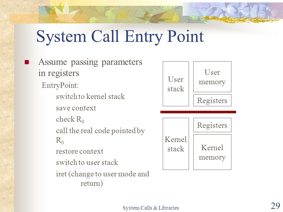 System Calls & Libraries 29 System Call Entry Point User stack Registers User memory Kernel stack Registers Kernel memory Assume passing parameters in registers EntryPoint: switch to kernel stack save context check R 0 call the real code pointed by R 0 restore context switch to user stack iret (change to user mode and return)
