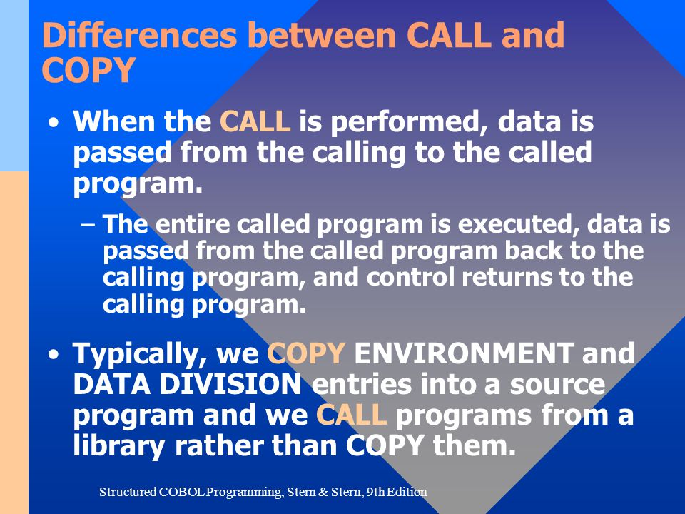 Structured COBOL Programming, Stern & Stern, 9th Edition Differences between CALL and COPY When the CALL is performed, data is passed from the calling
