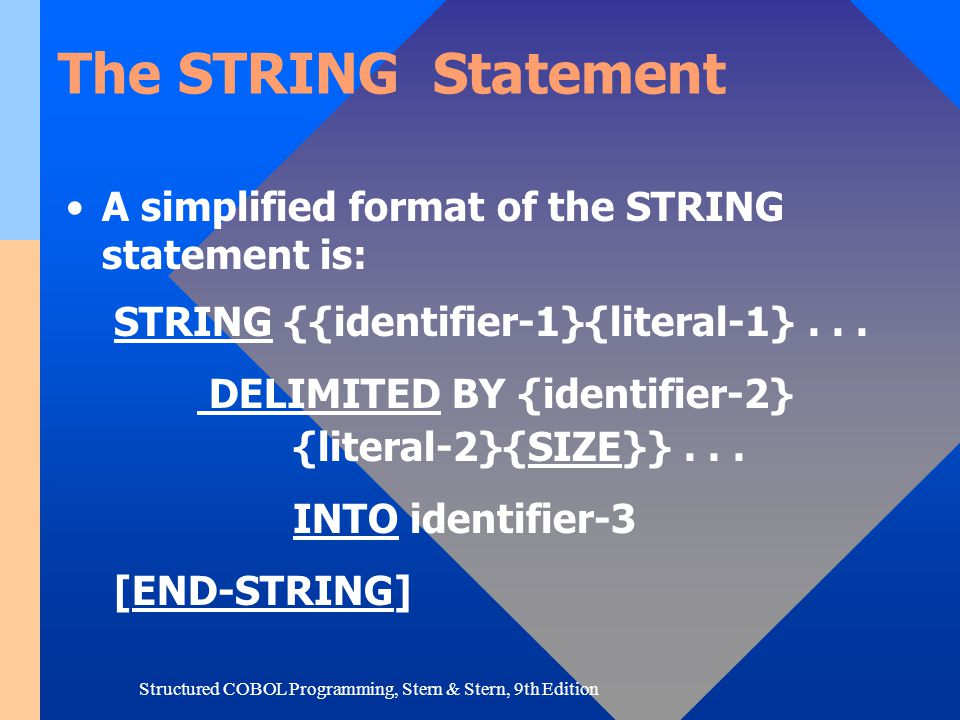Structured COBOL Programming, Stern & Stern, 9th Edition The STRING Statement A simplified format of the STRING statement is: STRING {{identifier-1}{l