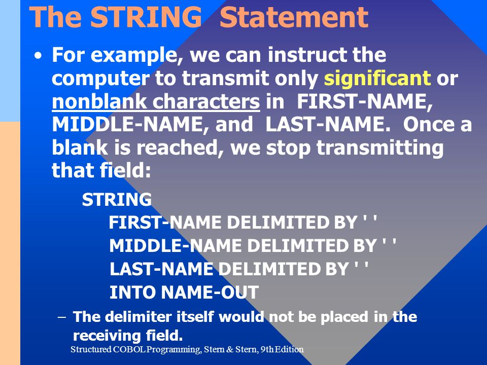 Structured COBOL Programming, Stern & Stern, 9th Edition The STRING Statement For example, we can instruct the computer to transmit only significant o