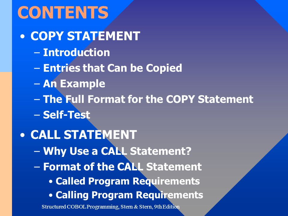 Structured COBOL Programming, Stern & Stern, 9th Edition SELF-TEST 2.