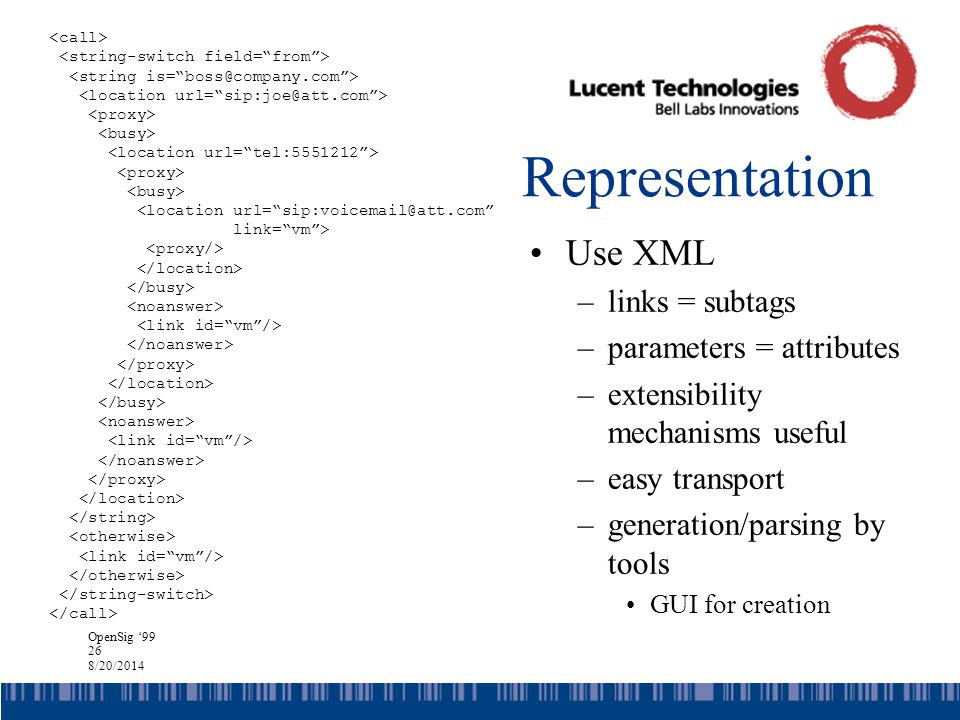OpenSig '99 26 8/20/2014 Representation Use XML –links = subtags –parameters = attributes –extensibility mechanisms useful –easy transport –generation/parsing by tools GUI for creation <location url= sip:voicemail@att.com link= vm >