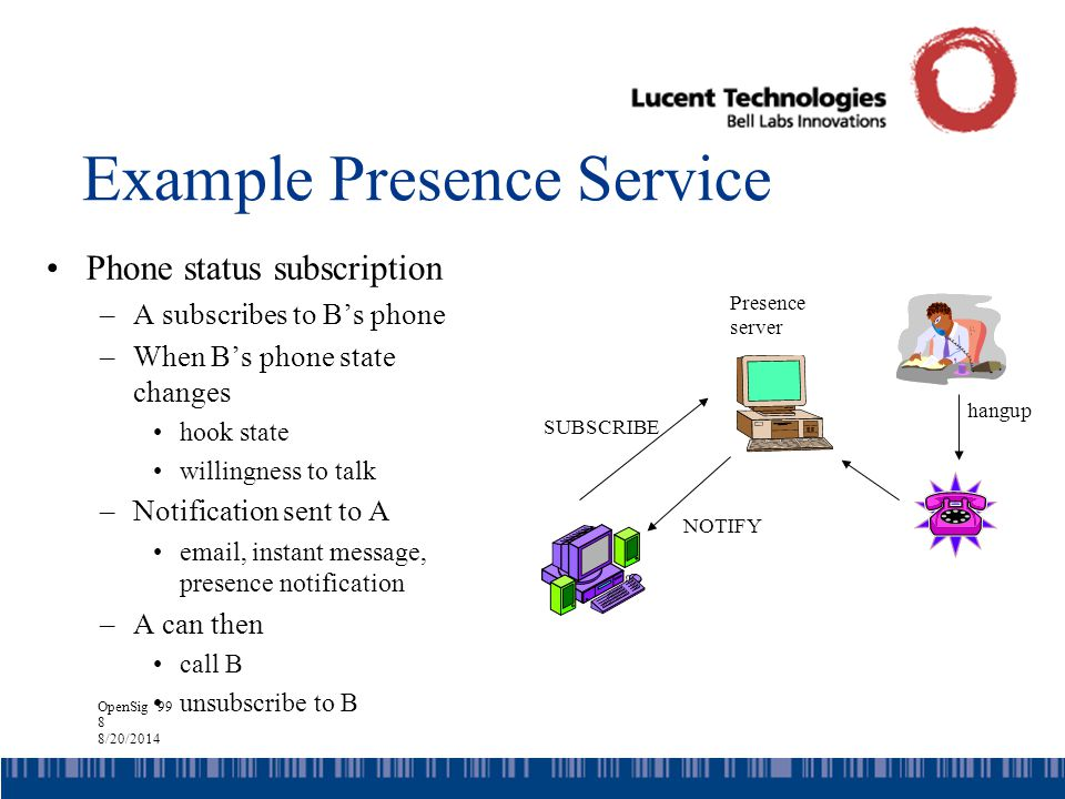 OpenSig '99 8 8/20/2014 Example Presence Service Phone status subscription –A subscribes to B's phone –When B's phone state changes hook state willingness to talk –Notification sent to A email, instant message, presence notification –A can then call B unsubscribe to B SUBSCRIBE hangup NOTIFY Presence server