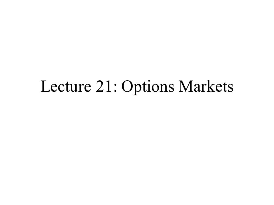 Lecture 21: Options Markets