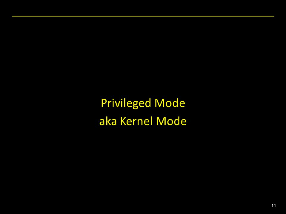 11 Privileged Mode aka Kernel Mode