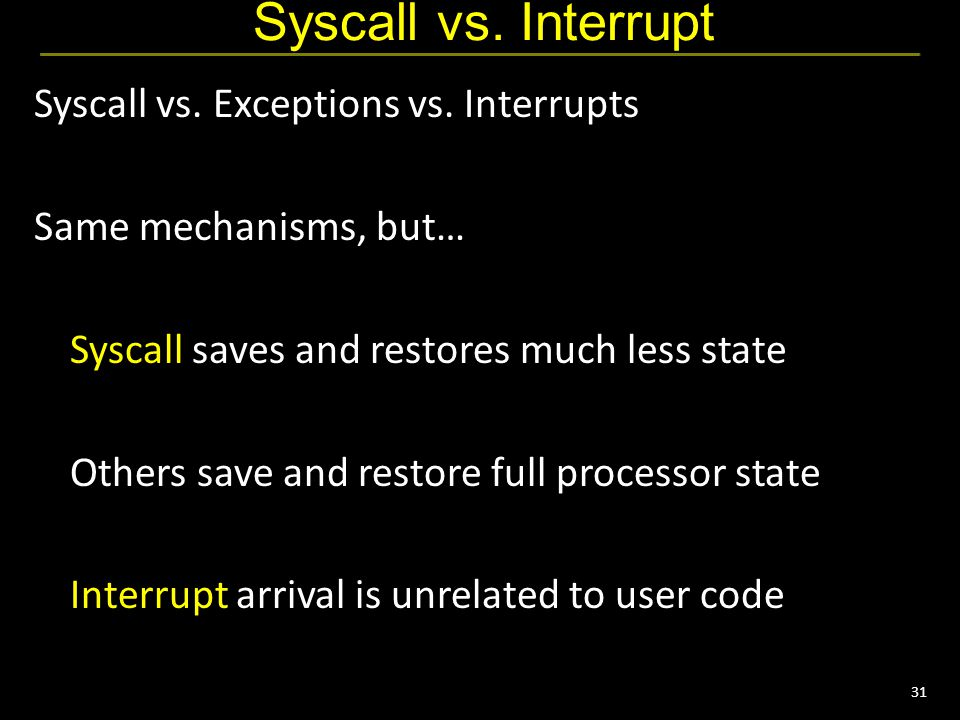 31 Syscall vs. Interrupt Syscall vs. Exceptions vs.