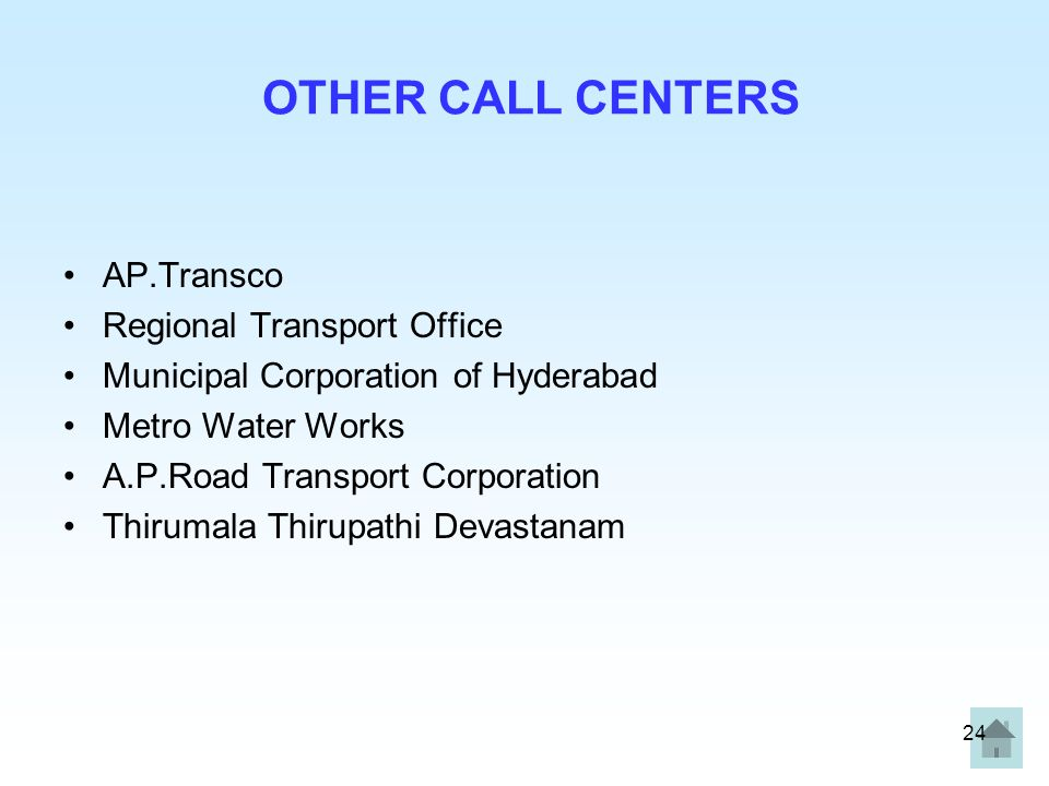 24 OTHER CALL CENTERS AP.Transco Regional Transport Office Municipal Corporation of Hyderabad Metro Water Works A.P.Road Transport Corporation Thirumala Thirupathi Devastanam