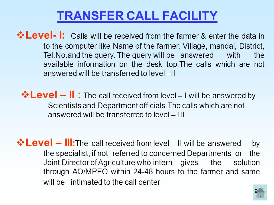 9 TRANSFER CALL FACILITY  Level- I: Calls will be received from the farmer & enter the data in to the computer like Name of the farmer, Village, mand