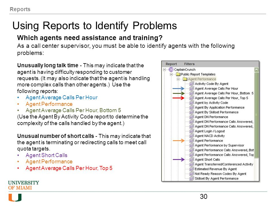 Reports Using Reports to Identify Problems Which agents need assistance and training? As a call center supervisor, you must be able to identify agents