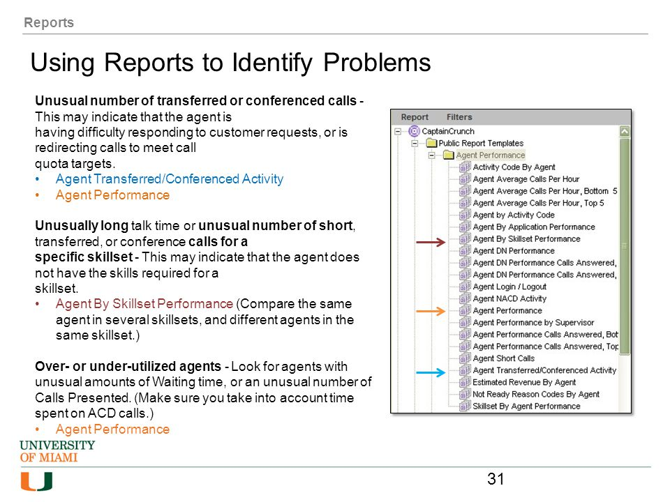 Reports Using Reports to Identify Problems Unusual number of transferred or conferenced calls - This may indicate that the agent is having difficulty