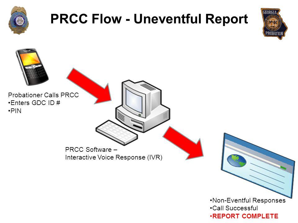 PRCC Flow - Uneventful Report Probationer Calls PRCC Enters GDC ID # PIN PRCC Software – Interactive Voice Response (IVR) Non-Eventful Responses Call