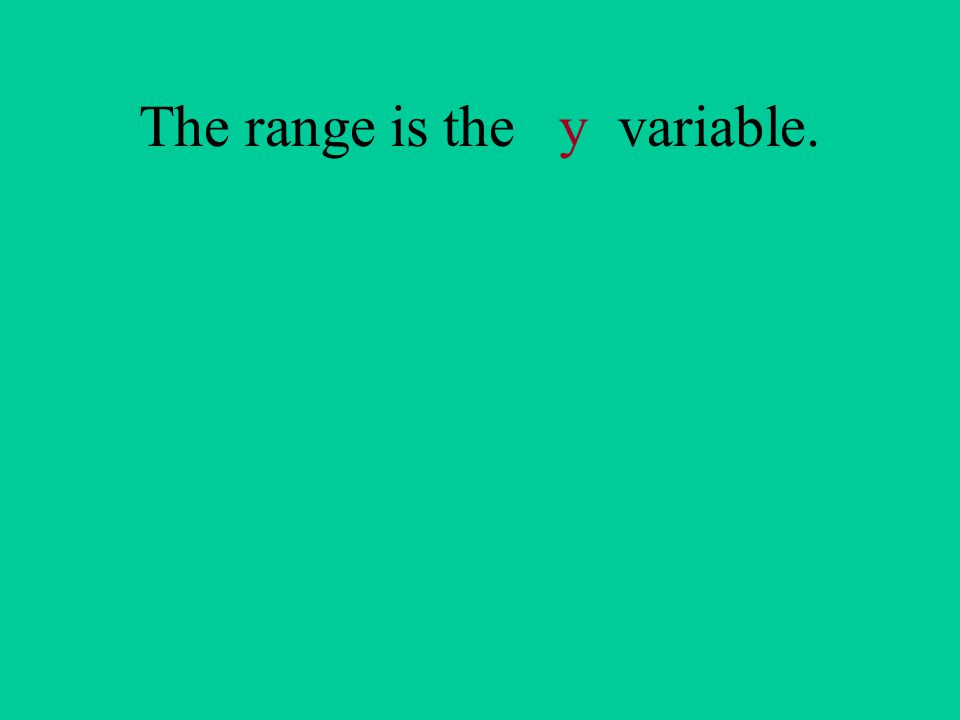 The range is the y variable.