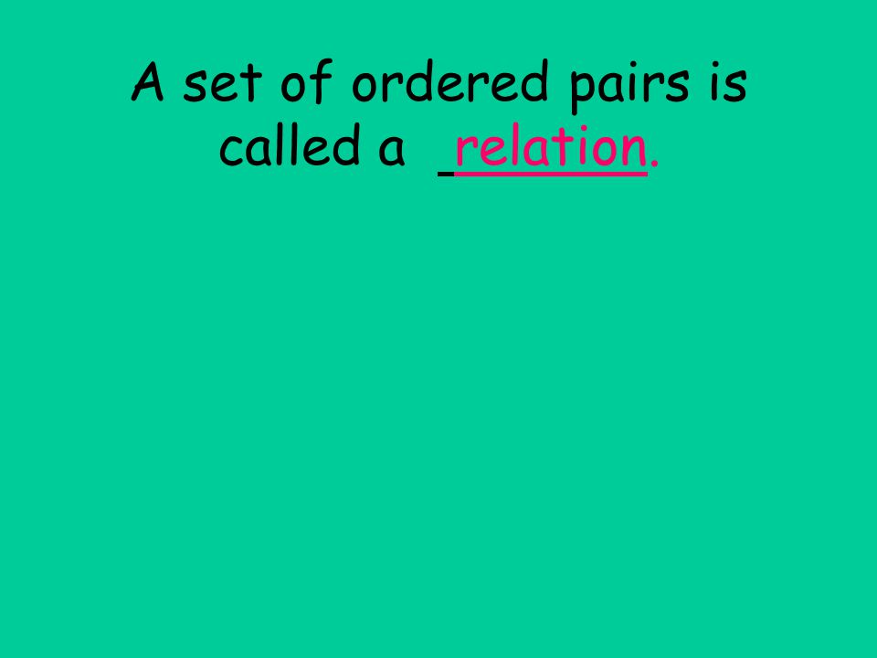A set of ordered pairs is called a relation.