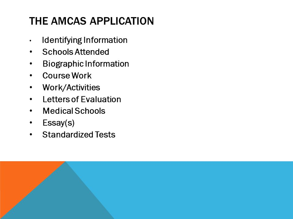 THE AMCAS APPLICATION Identifying Information Schools Attended Biographic Information Course Work Work/Activities Letters of Evaluation Medical School