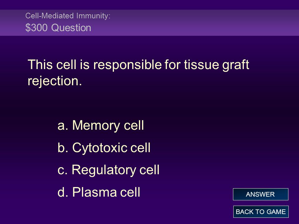 Cell-Mediated Immunity: $300 Question This cell is responsible for tissue graft rejection. a. Memory cell b. Cytotoxic cell c. Regulatory cell d. Plas