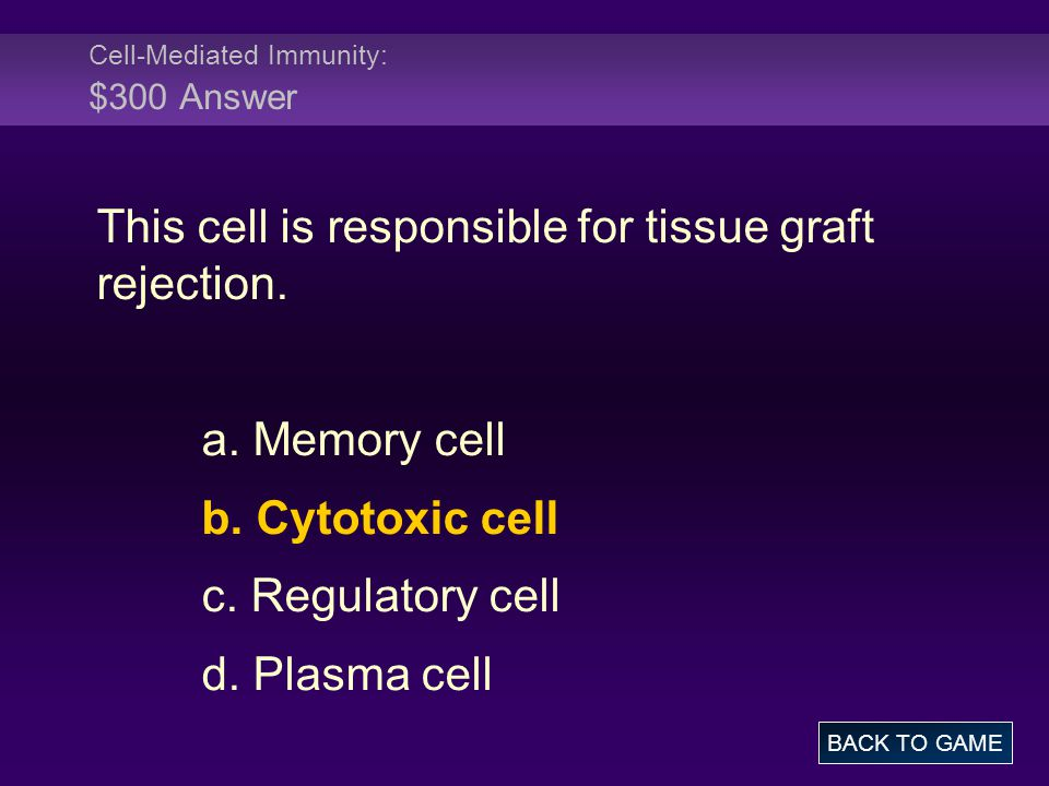 Cell-Mediated Immunity: $300 Answer This cell is responsible for tissue graft rejection. a. Memory cell b. Cytotoxic cell c. Regulatory cell d. Plasma