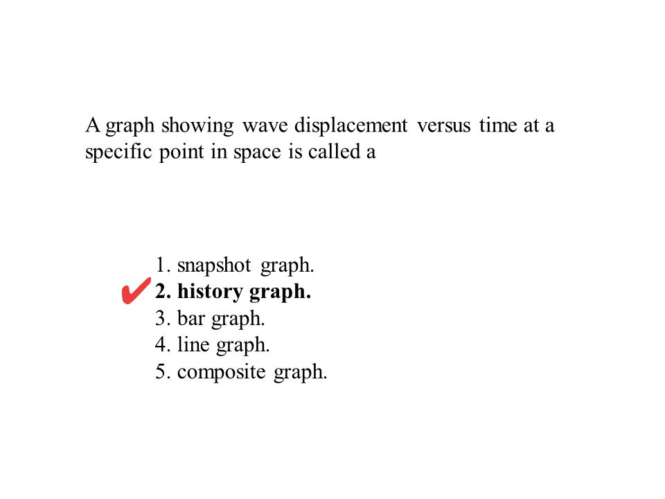 A graph showing wave displacement versus time at a specific point in space is called a 1. snapshot graph. 2. history graph. 3. bar graph. 4. line grap