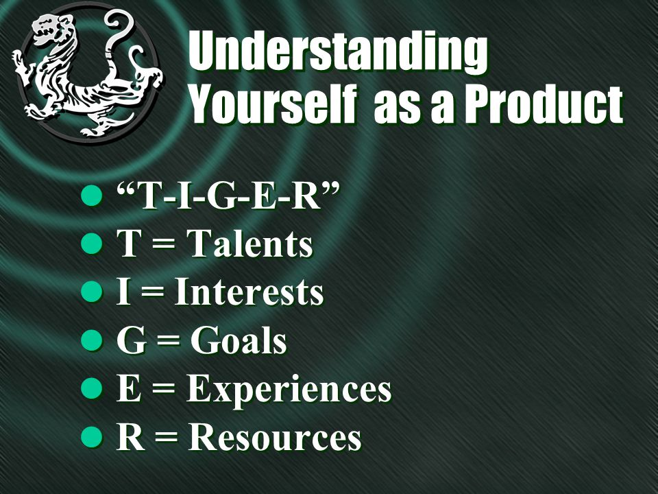 Understanding Yourself as a Product l T = Talents l What are you good at.