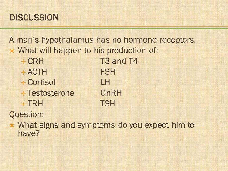 DISCUSSION A man's hypothalamus has no hormone receptors.  What will happen to his production of:  CRHT3 and T4  ACTHFSH  CortisolLH  Testosteron