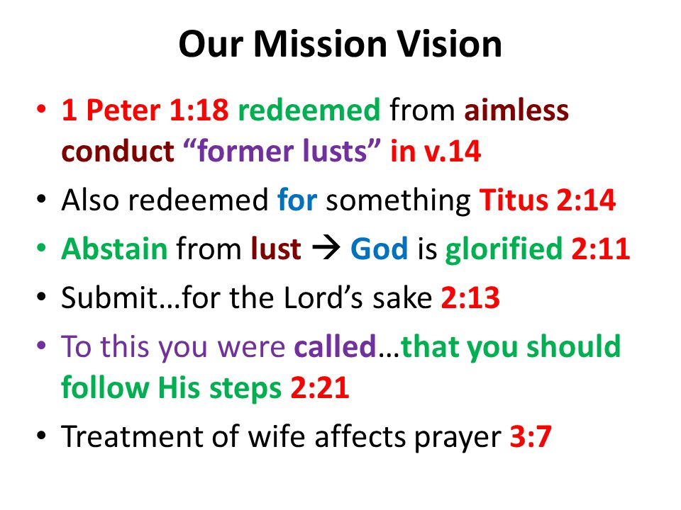 Our Mission Vision 1 Peter 1:18 redeemed from aimless conduct former lusts in v.14 Also redeemed for something Titus 2:14 Abstain from lust  God is glorified 2:11 Submit…for the Lord's sake 2:13 To this you were called…that you should follow His steps 2:21 Treatment of wife affects prayer 3:7