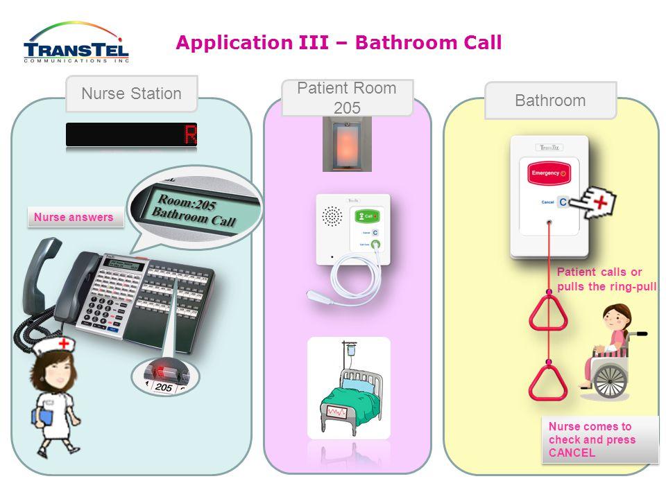 Application II – Emergency Call Nurse Station Patient Room 205 Bathroom Nurse answers HELP.