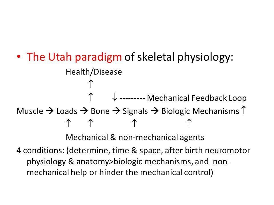The Utah paradigm of skeletal physiology: Health/Disease    --------- Mechanical Feedback Loop Muscle  Loads  Bone  Signals  Biologic Mechanism