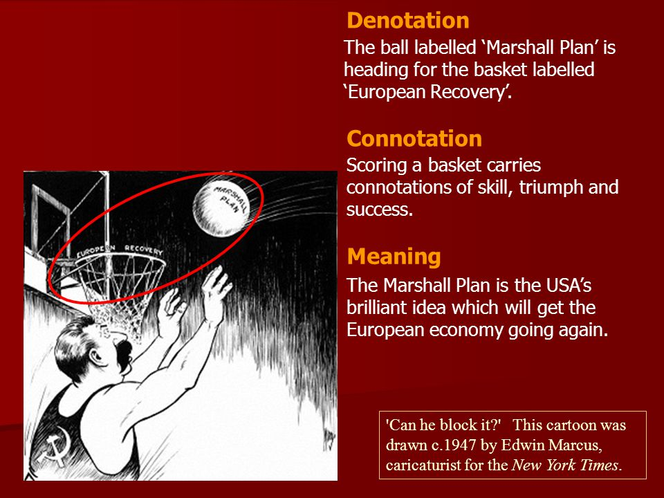 The ball labelled 'Marshall Plan' is heading for the basket labelled 'European Recovery'. Scoring a basket carries connotations of skill, triumph and