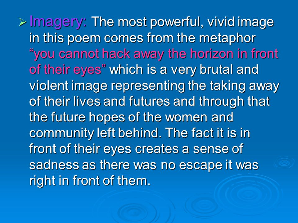  Imagery: The most powerful, vivid image in this poem comes from the metaphor you cannot hack away the horizon in front of their eyes which is a very brutal and violent image representing the taking away of their lives and futures and through that the future hopes of the women and community left behind.