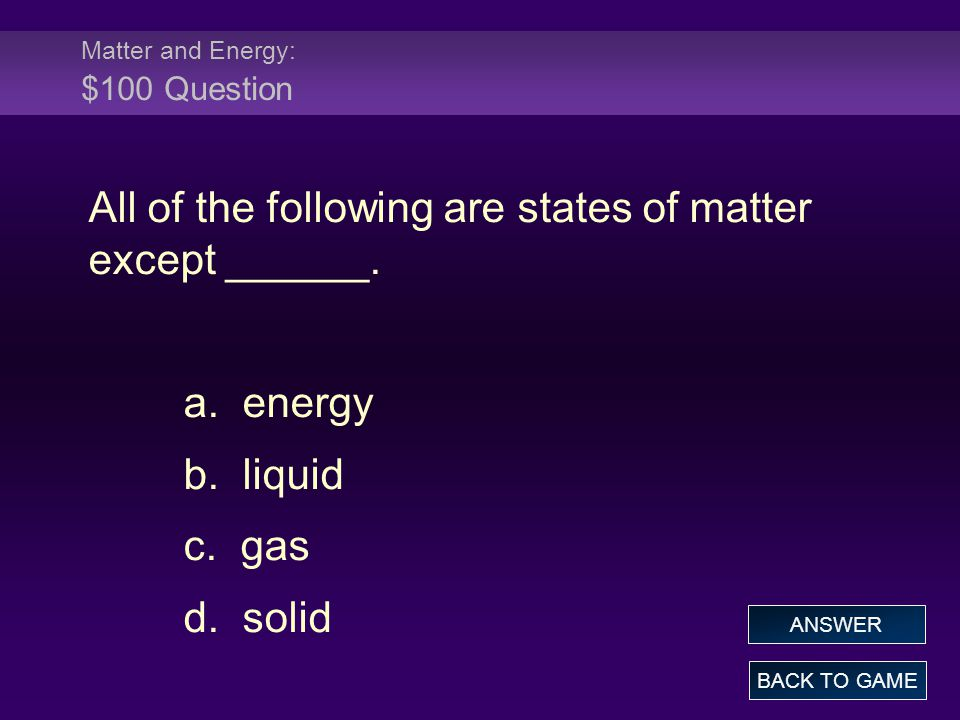 FINAL ROUND Answer Which substance is used directly by the cell for energy.