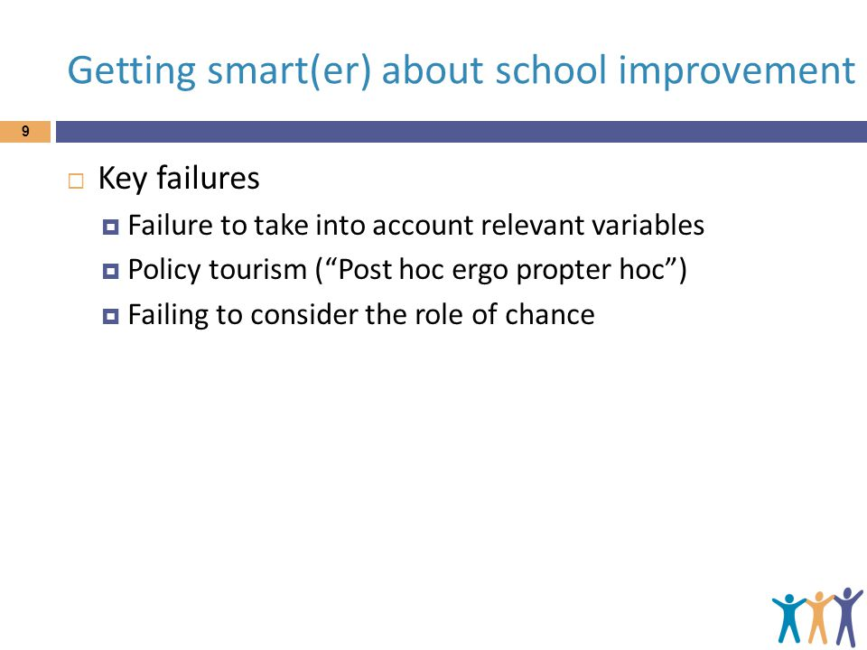 """Getting smart(er) about school improvement 9  Key failures  Failure to take into account relevant variables  Policy tourism (""""Post hoc ergo propter"""