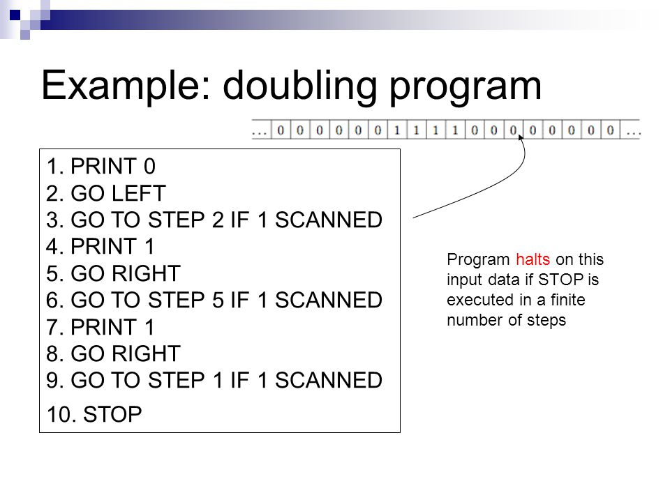 Example: doubling program 1. PRINT 0 2. GO LEFT 3. GO TO STEP 2 IF 1 SCANNED 4. PRINT 1 5. GO RIGHT 6. GO TO STEP 5 IF 1 SCANNED 7. PRINT 1 8. GO RIGH