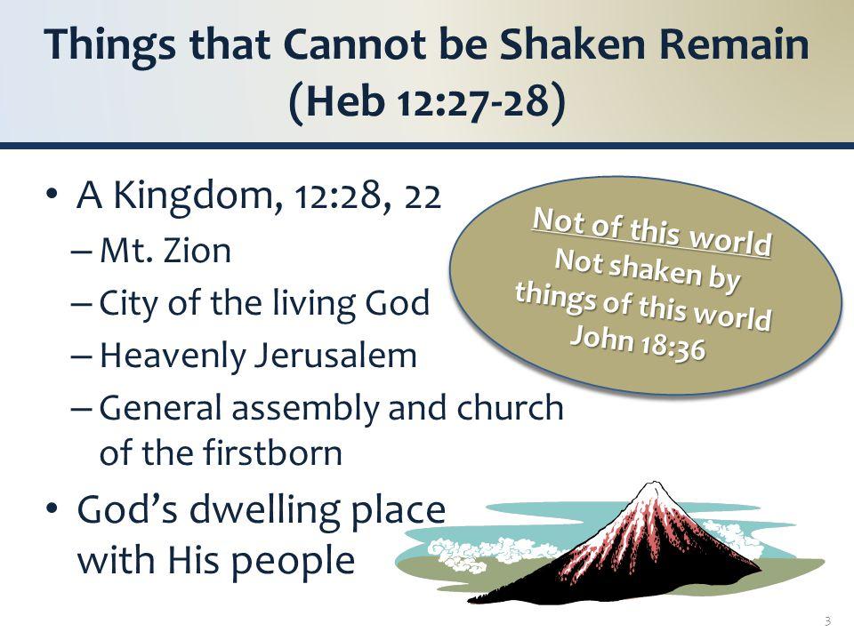 CANNOT BE SHAKEN Prophecy fulfilled, Dan 2:40- 44; 7:17-18, 22, 27 – Announced, Matt 3:2; Mk 1: 14-15 – Defined, Matt 16:18-19 – Established, Mk 9:1; Acts 1:8; 2:1, 41; Col 1:13; Heb 12:28 Not shaken by… – Kingdoms of men, Dan 2:44 (cf.