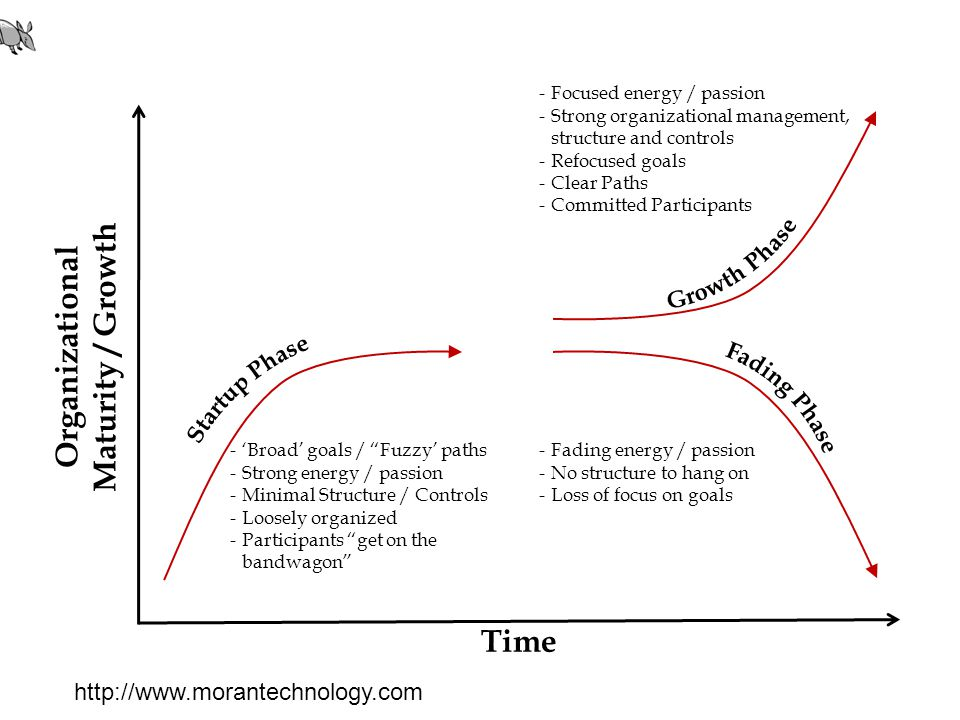 Time Organizational Maturity / Growth -'Broad' goals / Fuzzy' paths -Strong energy / passion -Minimal Structure / Controls -Loosely organized -Participants get on the bandwagon -Fading energy / passion -No structure to hang on -Loss of focus on goals -Focused energy / passion -Strong organizational management, structure and controls -Refocused goals -Clear Paths -Committed Participants http://www.morantechnology.com