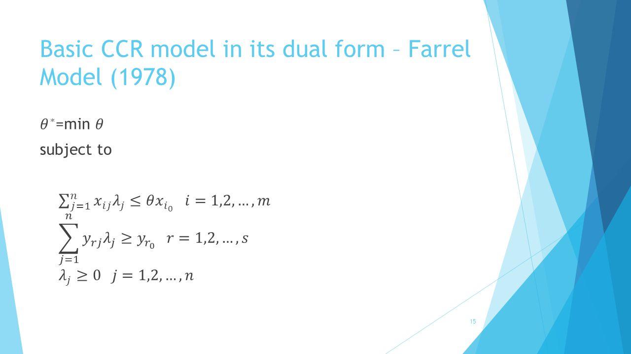 Basic CCR model in its dual form – Farrel Model (1978) 15