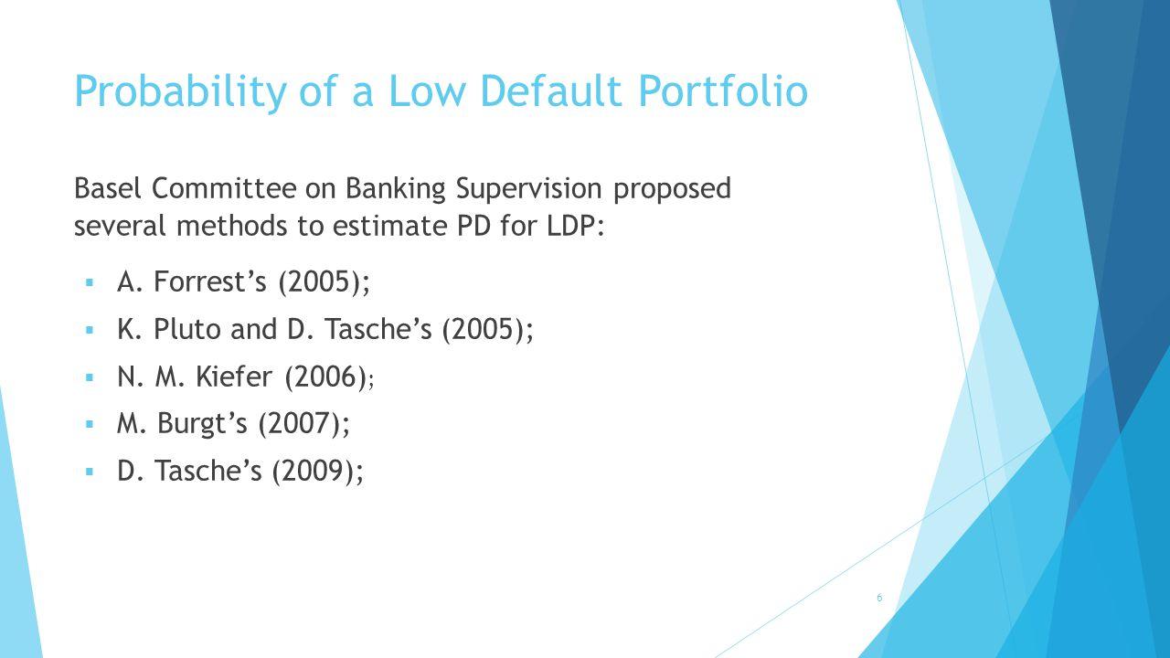 Probability of a Low Default Portfolio  A. Forrest's (2005);  K.