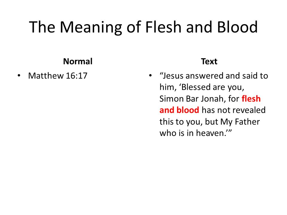 """The Meaning of Flesh and Blood Normal Matthew 16:17 Text """"Jesus answered and said to him, 'Blessed are you, Simon Bar Jonah, for flesh and blood has n"""