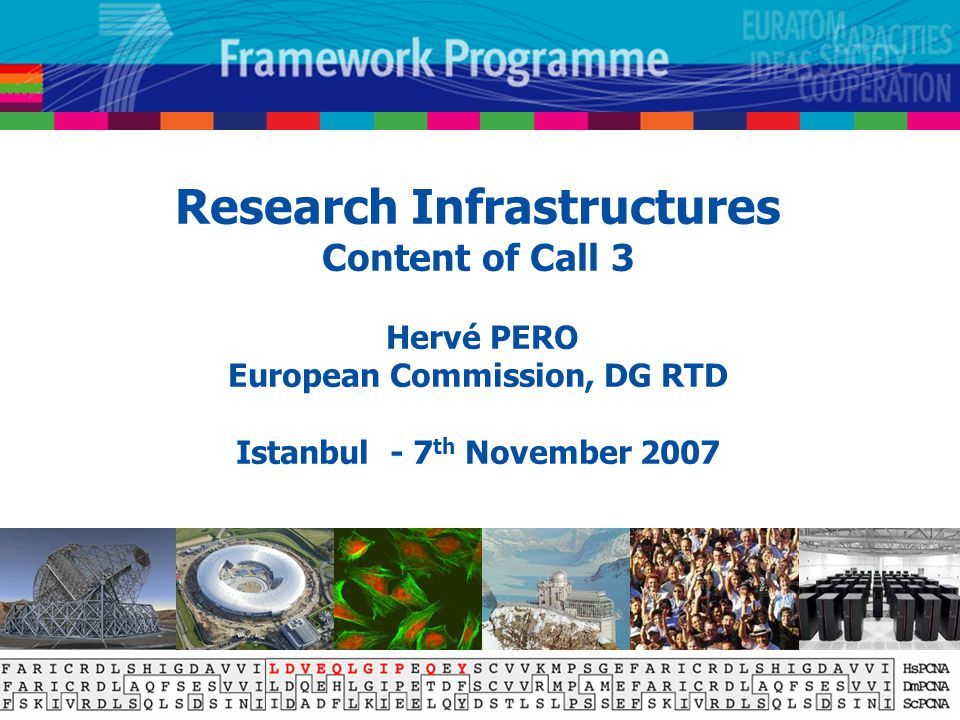 Research Infrastructures Content of Call 3 Hervé PERO European Commission, DG RTD Istanbul - 7 th November 2007