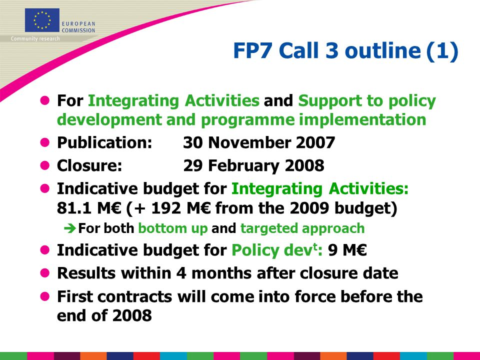 FP7 Call 3 outline (1) lFor Integrating Activities and Support to policy development and programme implementation lPublication: 30 November 2007 lClos