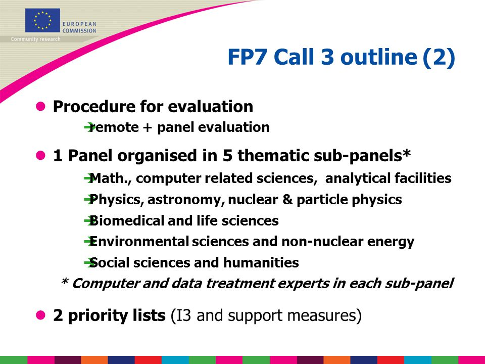 FP7 Call 3 outline (2) lProcedure for evaluation  remote + panel evaluation l1 Panel organised in 5 thematic sub-panels*  Math., computer related sc
