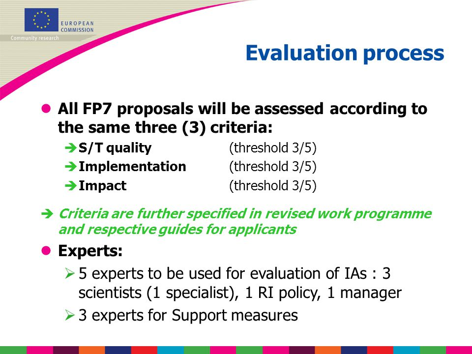 Evaluation process lAll FP7 proposals will be assessed according to the same three (3) criteria:  S/T quality (threshold 3/5)  Implementation (thres