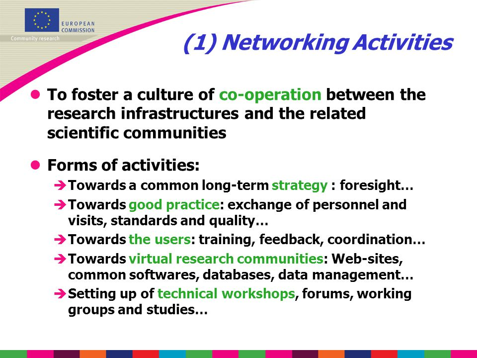 (1) Networking Activities lTo foster a culture of co-operation between the research infrastructures and the related scientific communities lForms of a